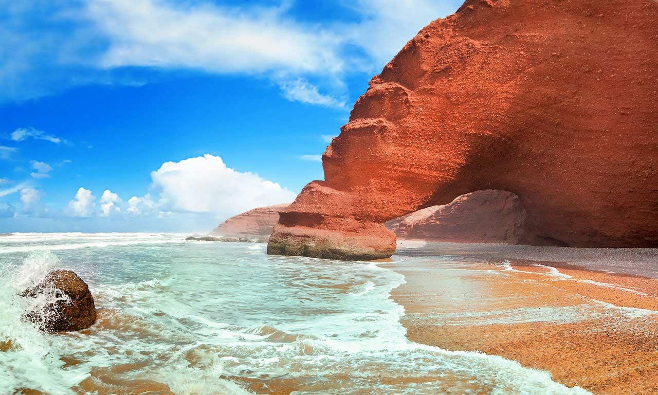 Strandurlaub Marokko Sonne Sommer Meer Sandstrand Pauschalreise Legzira Strand Urlaub