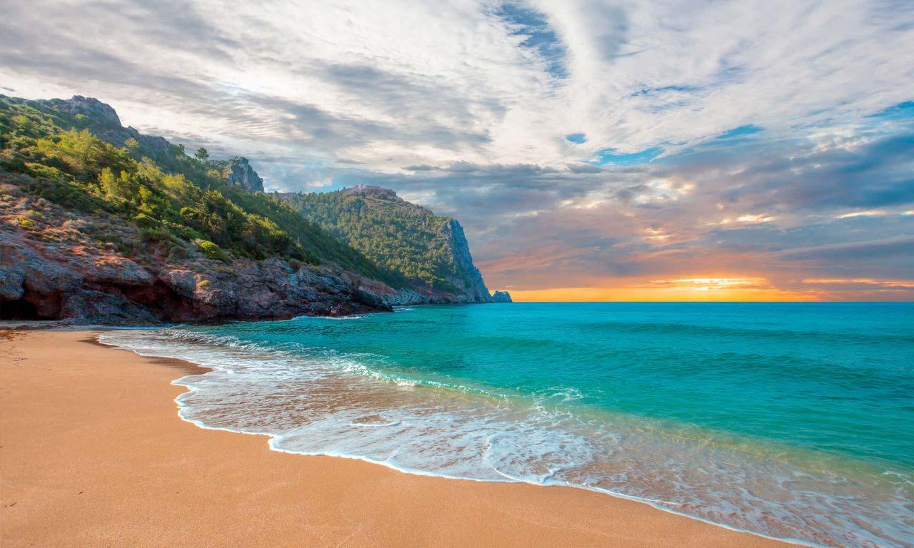 00541 türkei antalya cleopatra strand beach sonnenuntergang meer baden