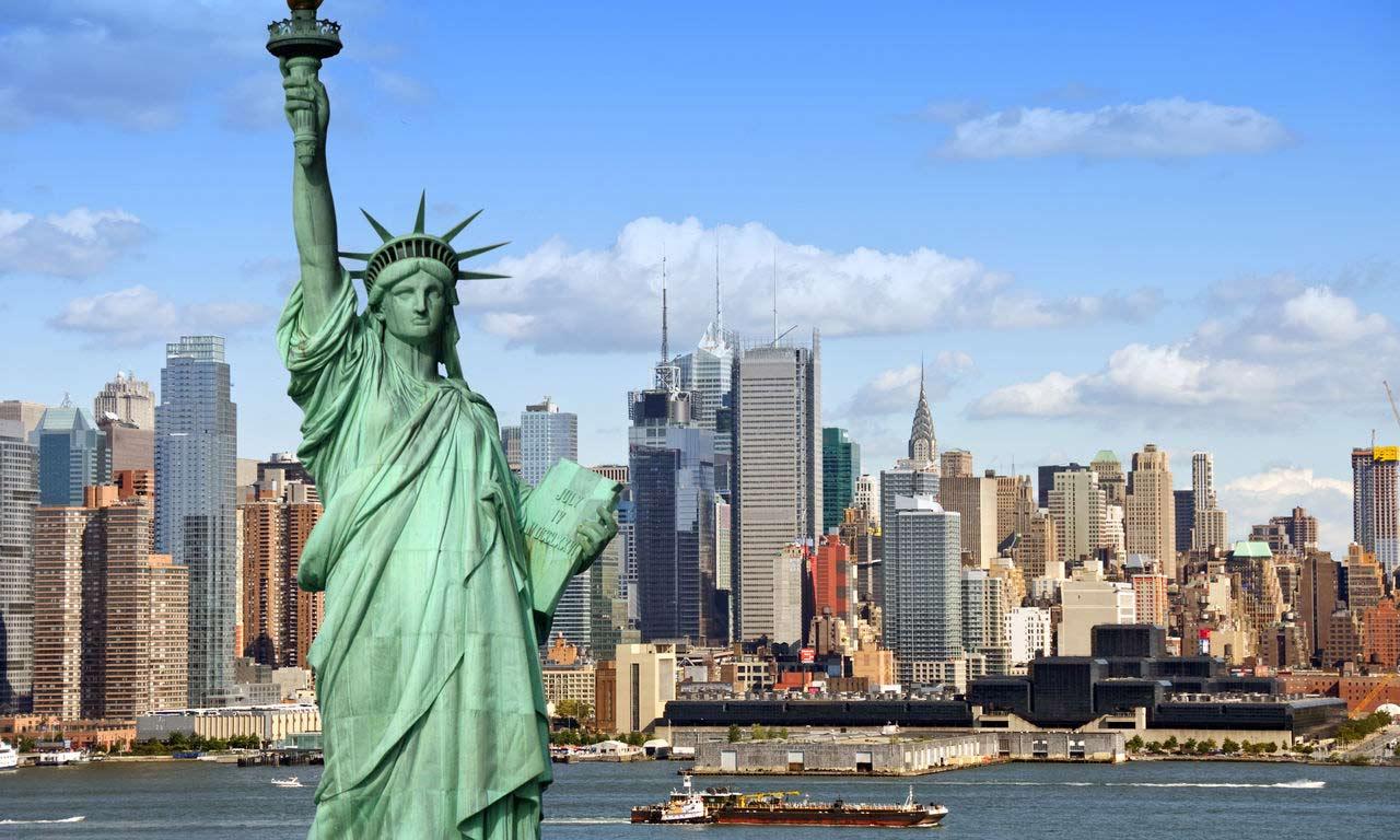 USA New York Manhattan Skyline Statue Of Liberty Hotel Fernreise Traumurlaub