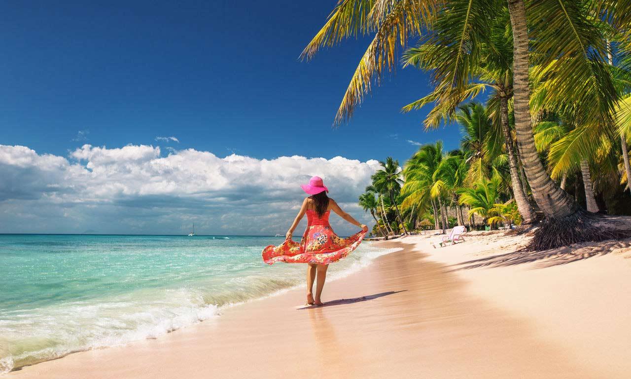 00794 dominikanische republik urlaub karibik traumstrand insel strand sommer palmen paradies strandspaziergang