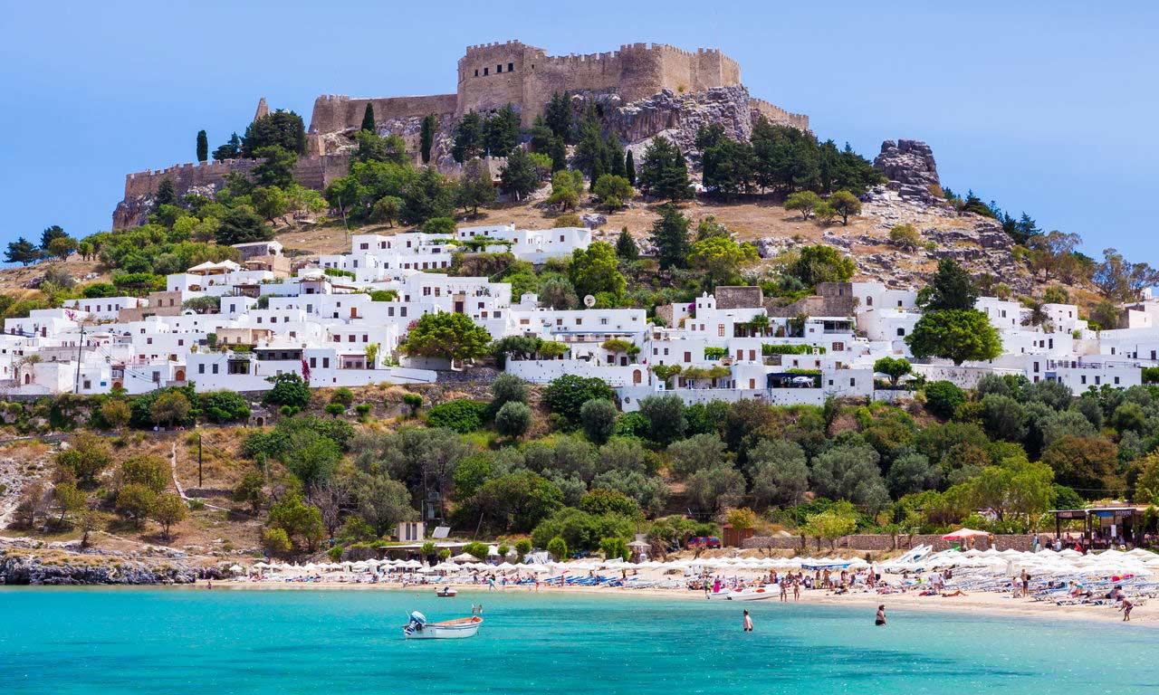 00847 rhodos urlaub griechenland lindos burg mittelmeer insel sommer strandurlaub erholung