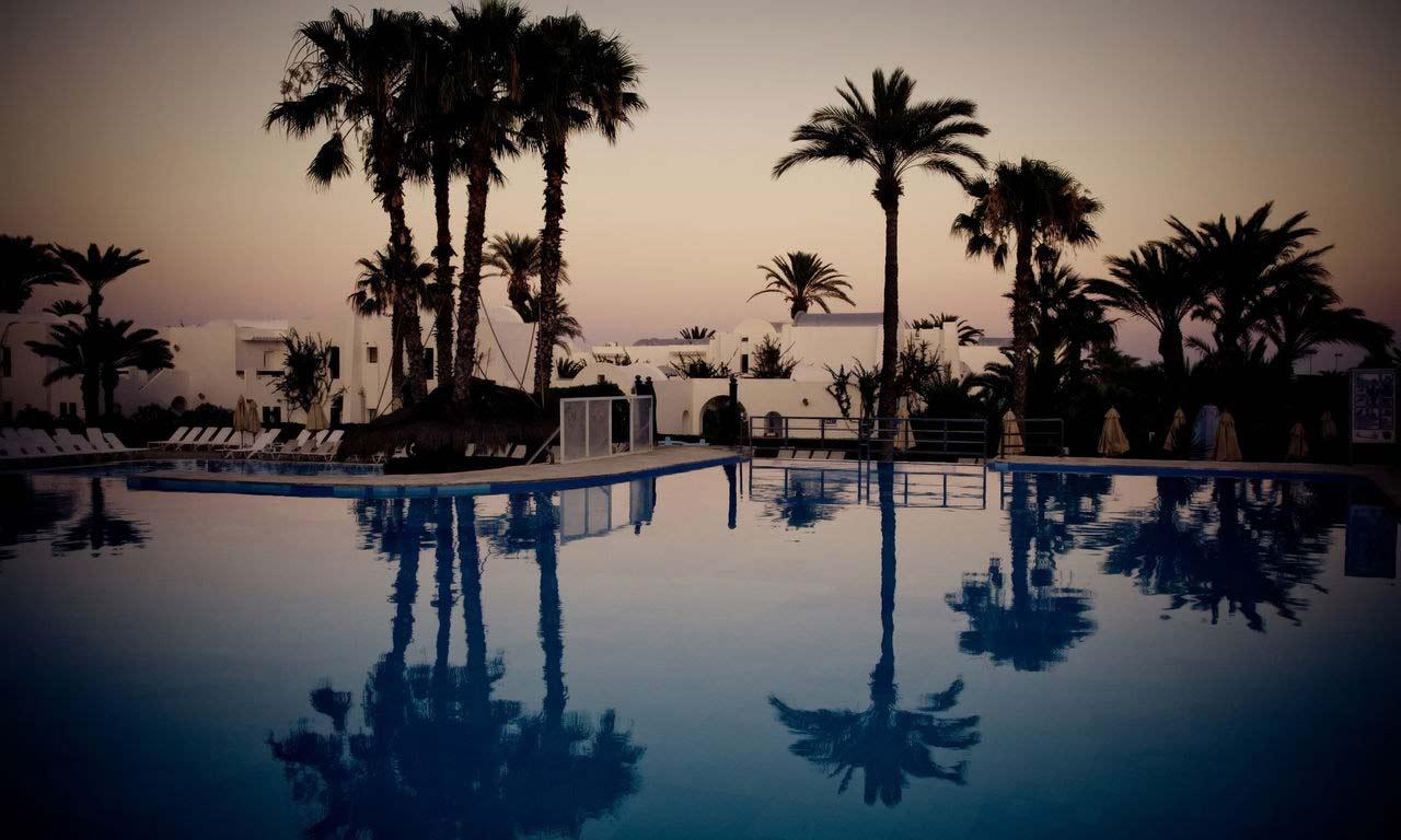01093 djerba tunesien mittelmeer urlaub sommer strandurlaub erholung sonnenuntergang palmen sandstrand